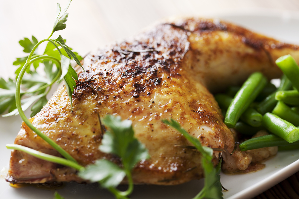 Lemon roasted chicken with green beans