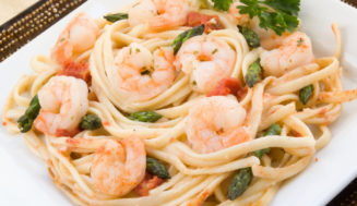 Healthy Shrimp and Asparagus over Linguini