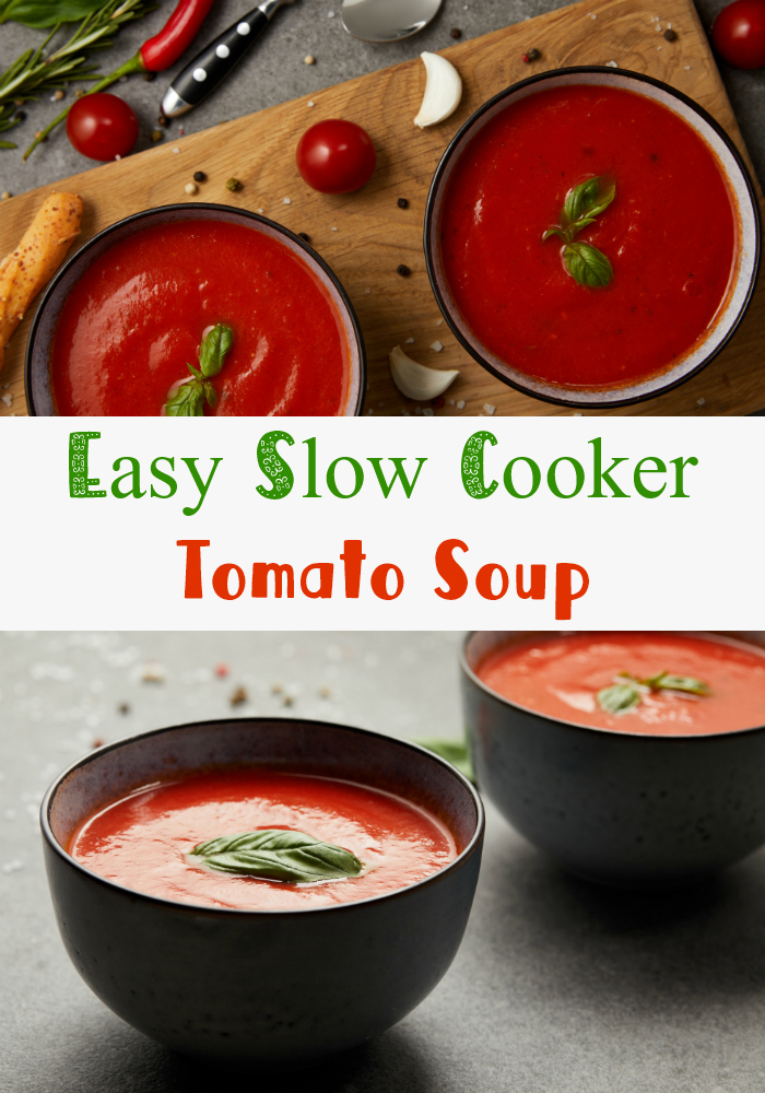 This easy, homemade, slow cooker tomato soup recipe uses fresh tomatoes and basil for a fast, healthy , and simple lunch or dinner. Also included is information on how to make it creamy or vegan. Try it, your family will love it! #tomatosoup #tomatoes #soup #recipe