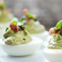 Healthier Guacamole Deviled Eggs