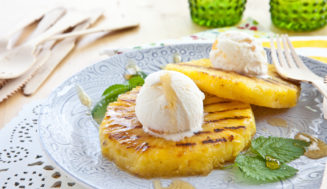 Grilled Pineapple and Ice Cream Sundae