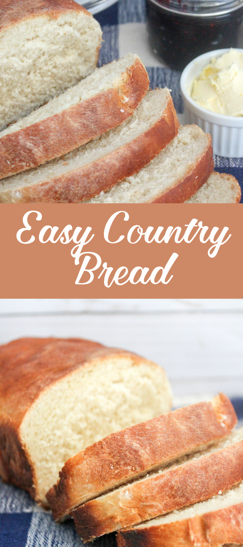 White Country bread recipe. Your family will love this easy country bread that is so much better than store bought. Gotta love homemade bread! #bread #breadrecipes #easyrecipe #countrybread #whitebread