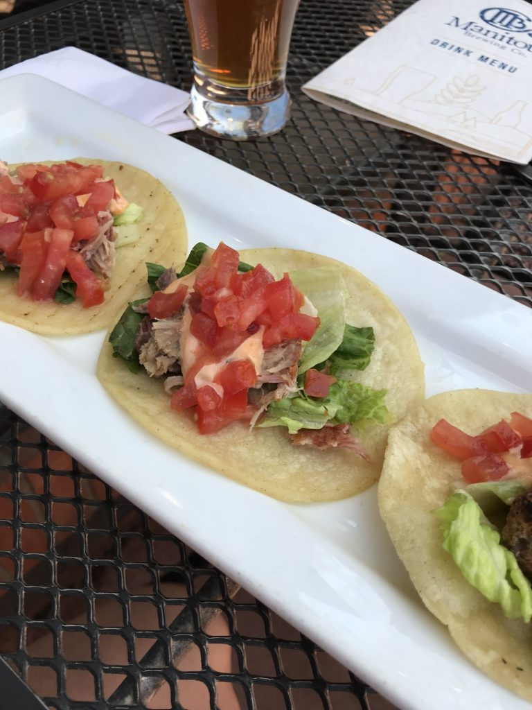 beer and tacos at Manitou Brewing