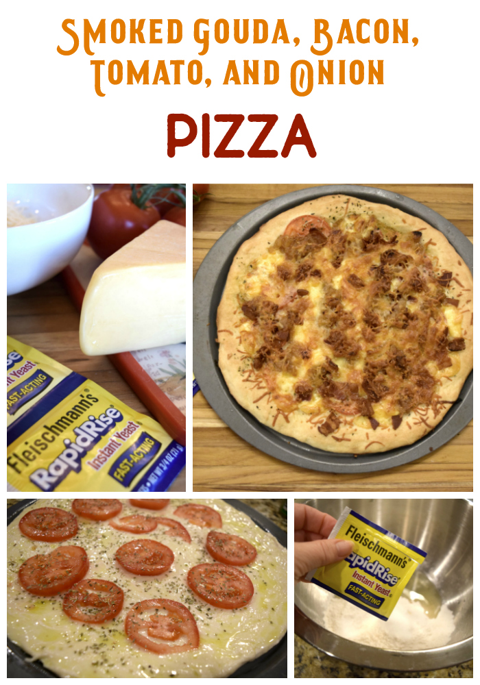 Smoked gouda bacon tomato and carmelized onion pizza